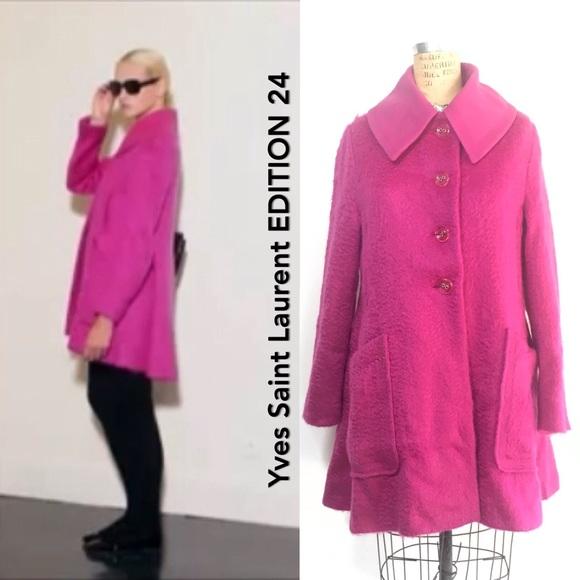 6cff2433ad0 Yves Saint Laurent Jackets & Coats | Sale Ysl Hot Pink Wool Coat ...
